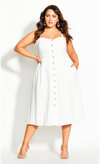 Scallop Button Dress - ivory