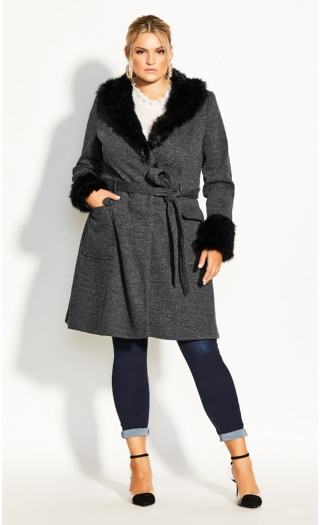 Make Me Blush Coat - charcoal