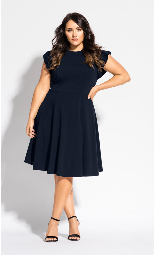 Frill Shoulder Dress - navy