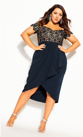 Lace Glamour Dress - navy