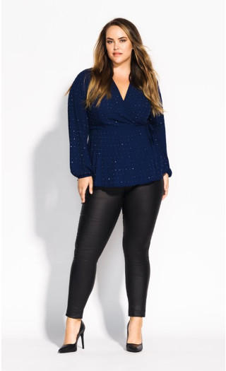 Bling Flirt Top - navy