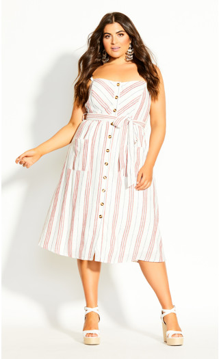 Lover Stripe Dress - ivory
