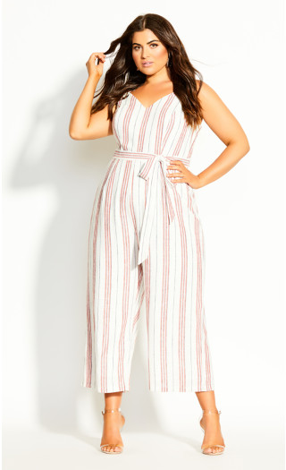 Lover Stripe Jumpsuit - ivory