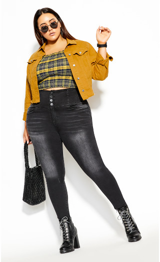 Denim Crop Jacket - gold
