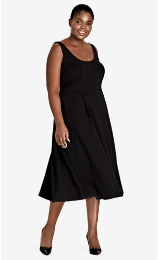 Classic Longline Fit & Flare Dress, Black