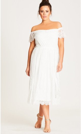 Vine Detail Off-Shoulder Dress - Ivory
