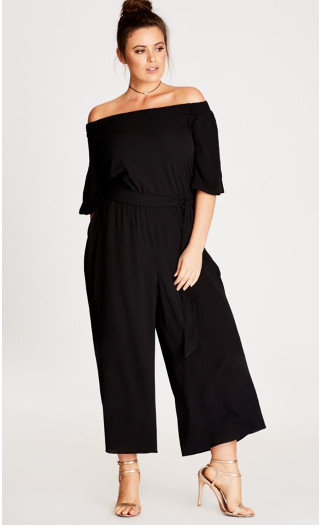 Off-Shoulder Jumpsuit - Black
