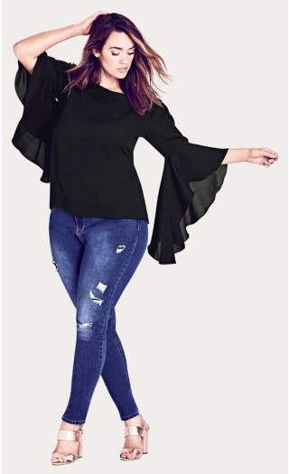 Romantic Sleeve Top - black