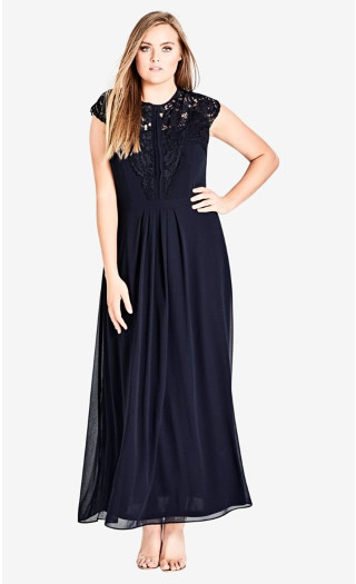 Lace Bodice Maxi Dress - Navy