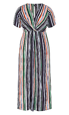 Jungle Stripe Short Sleeve Maxi Dress - black