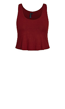 Lounge Rib Crop Top - pomegranate