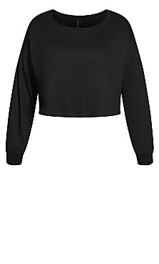 Lounge Long Sleeve Crop Top - black