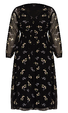 Gentle Floral Dress - black