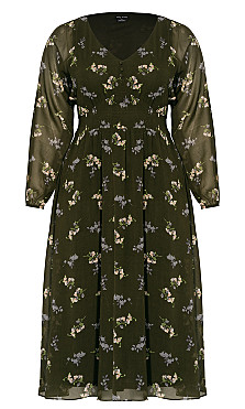 Gentle Floral Dress - military