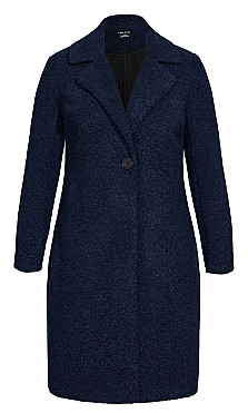 Plush Love Teddy Coat - navy