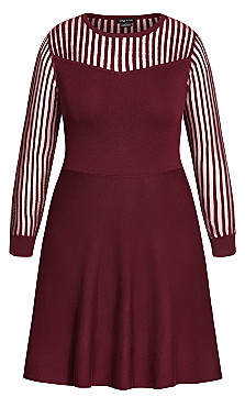 Ribbed Sweater Dress - ruby