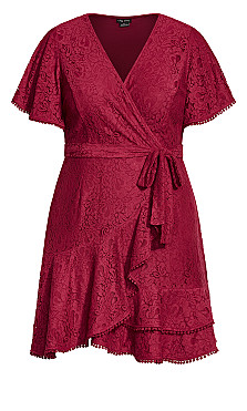 Sweet Love Lace Dress - sangria
