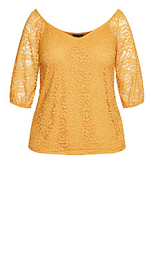 Lace Elbow Sleeve Top - gold