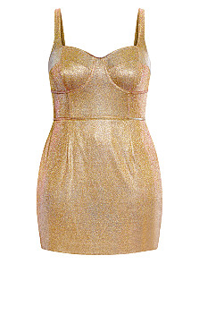 Shine On Dress - gold
