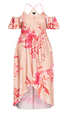 Elegant Ruffle Maxi Dress - blush