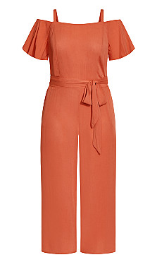 Cold Shoulder Jumpsuit - rust