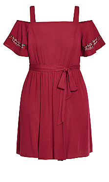 Cold Shoulder Dress - rhubarb