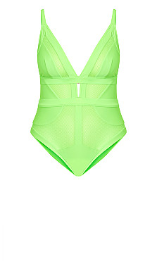 Sexy Plunge 1 Piece - lime