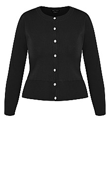 Luxe Button Cardigan  - black