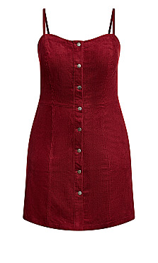Sweet Corduroy Dress - beetroot