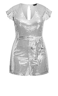 Sequin Tie Playsuit - silver