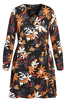 Fall Floral Dress - black
