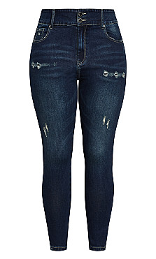 Asha Baby Rip Jean - dark denim
