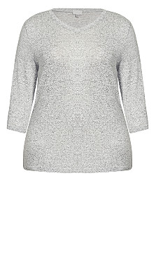 V Plain Hacci Top - gray