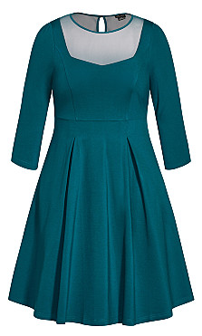 Cute Mesh Dress - teal