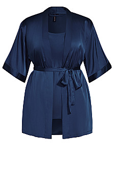Satin Chemise & Robe Set - midnight