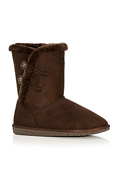 Zoey Faux Fur Lined Suede Boot - brown