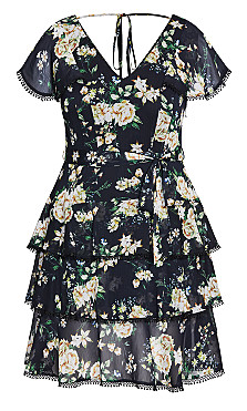 Heirloom Floral Dress - black