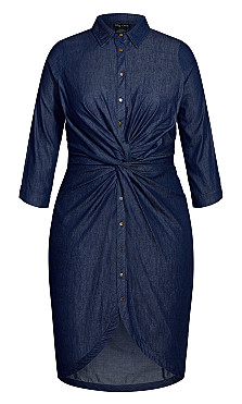 Chambray Twist Dress - indigo