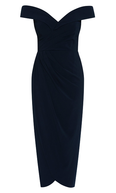 Rippled Love Dress - dark navy