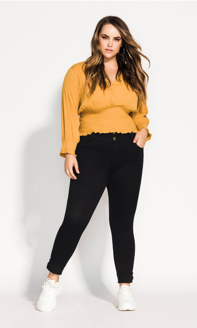 Women's Plus Size Simply Shirred Top - ochre