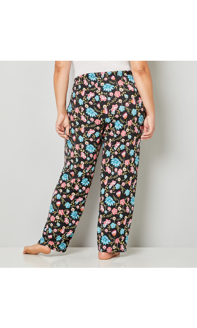Floral Vine Sleep Pant - charcoal