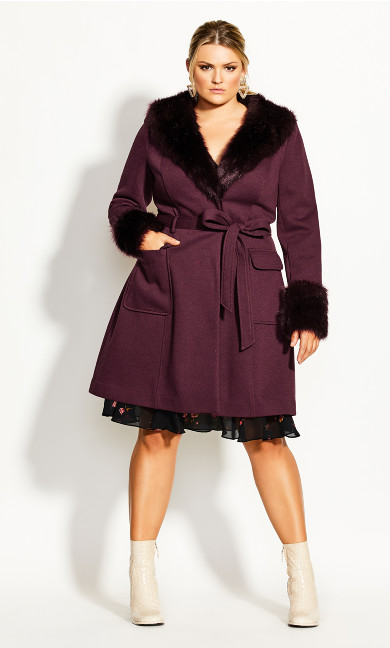 Women's Plus Size Make Me Blush Coat - plum