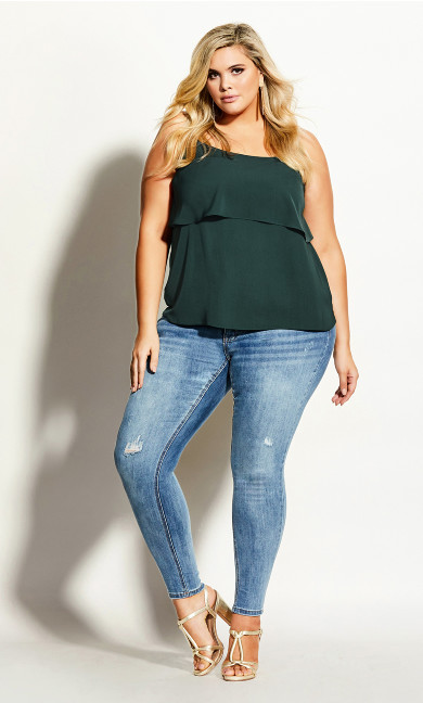 Women's Plus Size Sweet Tier Cami - pine