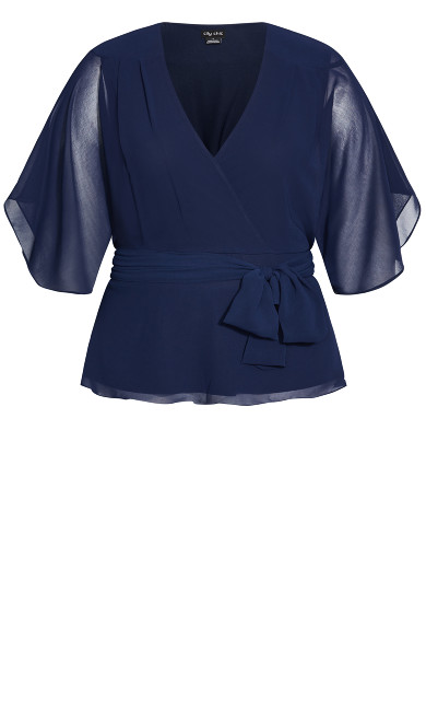 Elegant Wrap Top - navy