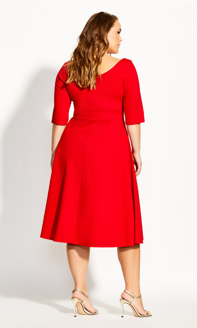 Cute Girl Elbow Sleeve Dress - red