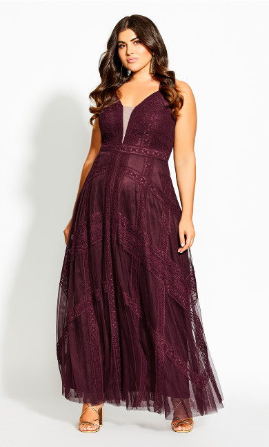 Plus Size Divine Whimsy Maxi Dress - imperial