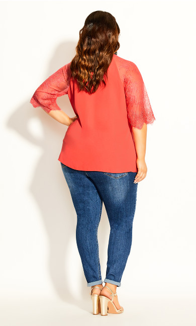 Short Lace Sleeve Top - coral