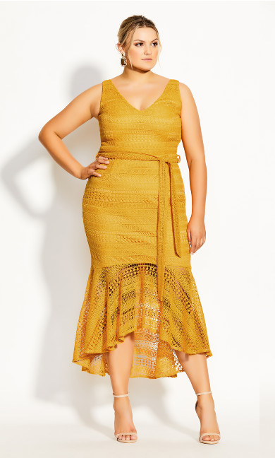 Simmer Lace Dress - amber