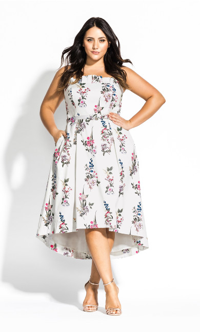 Women's Plus Size Sweet Bouquet Dress - ivory