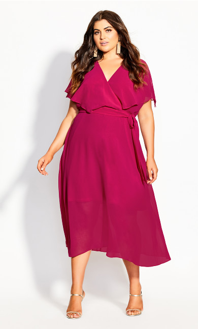 Softly Tied Dress - raspberry